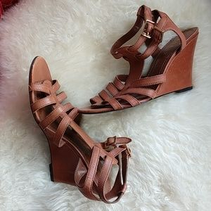 Dark Tan LAUREN Ralph Lauren gladiator wedges